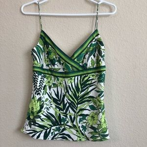 J. Crew White With Green Floral Silk Tank Top